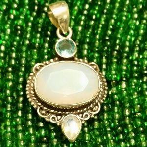 .925 Silver Opalite Pendant w/White & Blue Topaz